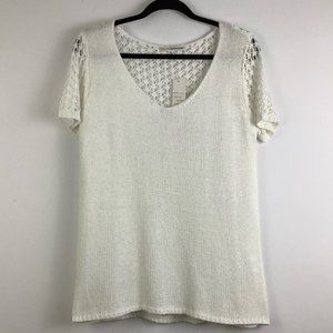 NWT Today's Designer Knit Crochet Top in White